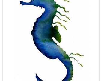 Seaweed Seahorse~blue green~watercolour art print