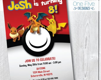 Pokemon Birthday Party Invitation - Printable (5x7)