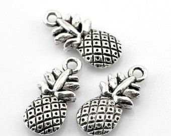 10pcs Tibetan Silver Pineapple Fruit Charms Pendants Double Sided 9x20mm - AB16