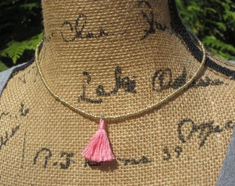 beaded tassel necklace gold glass seed bead necklace pink tassel choker necklace cute & simple tassel necklace custom color tassel necklace