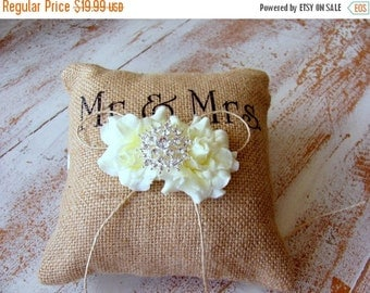 50% SALE Burlap Ring Pillow with Ivory Roses – Mr & Mrs Wedding Ring Bearer Pillow