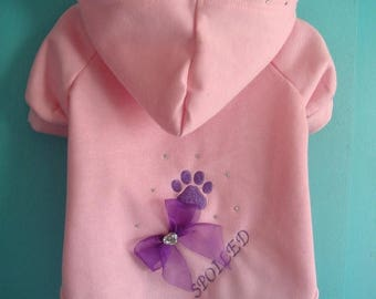 ON SALE Dog Hoodie, Pink Dog Hoodie For Small Dog, Size X Large