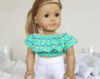 18 inch doll teal peasant blouse