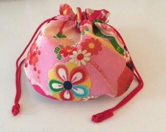 Lovely Japan Kimono Yuzen Style Chirimen rayon cute cosmetic pouch