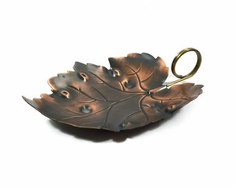 "Large 8"" Vintage Copper Candy Dish / Nut Bowl with Leaf Shape by Coppercraft Guild, 8.75"" Long"