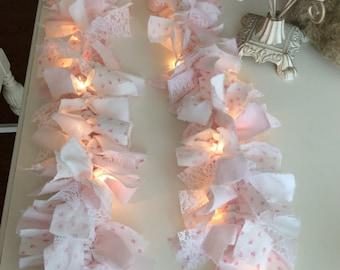 RA Pink  Rose Fabric Lighted Garland 7.5 ft