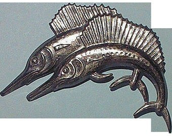 Vintage Sterling Silver Double Sailfish Brooch