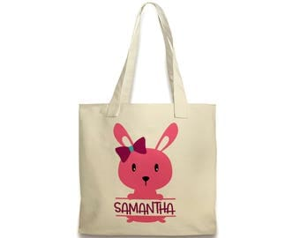 Girls Easter Basket Canvas Tote Bag - Personalized Bunny Easter Bag
