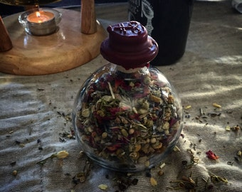 Love, Witch Bottle,Organic Herbs, Resins, Magic, Spells, Wax Sealed, Glass