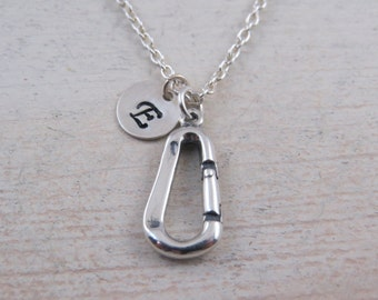 Sterling silver Carabiner necklace, carabiner necklace, carabiner jewelry, rappelling necklace, hiking, camping necklace, outdoor sports