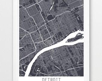 Detroit City Urban Map Poster, Detroit City Street Print, Detroit Michigan, Travel Poster, Modern Wall Art, Home Office Decor, Printable Art