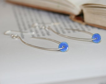 Sterling silver enamel drop earrings