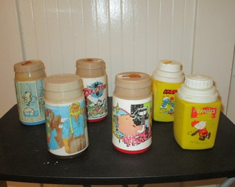Vintage Various Plastic Lunchbox Thermos without lids *  * 6 included *