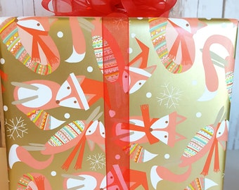 Fox Christmas Wrapping Paper, Metallic Gold Background with Festive Foxes Children's Holiday Gift Wrap 10 ft x 2 ft. Roll,
