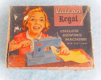 Vintage Vulcan Regal child's sewing machine | Vintage sewing machine | Hand operated sewing machine with spotlight | Blue sewing machine