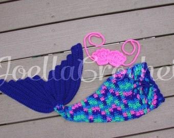 Mermaid Tail & Sea Shell Top, Baby Girl Prop, Baby Mermaid, Crochet Mermaid Prop, Newborn Prop, Photo Prop, Mermaid Costume, JoellaCrochet