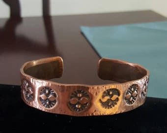 Stamped copper bracelet