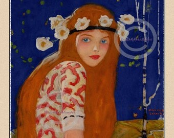 Bohemian Girl Print Hippie Style Girl from 1923 Redhead with flowers in hair Flower Child, Beauty magazine Cover Wall Decor Giclee ,11x14