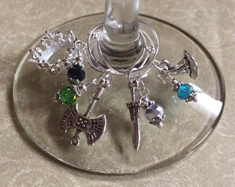 Lord of the Rings Wine Glass Charms Set of 4 Glass Beads —Great Gift! Fantasy Sword Gandalf's Hat Crown