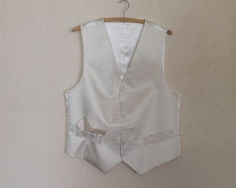 White Ivory Gentlemen's Vest Mens Formal Fitted Waistcoat Edwardian Victorian Renaissance Steampunk Baroque