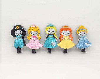 Princess Hair Clips Glitter Clips