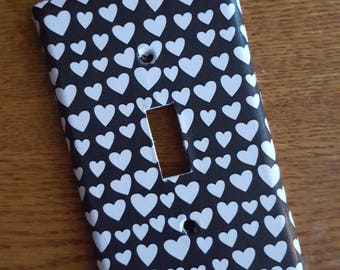 Black and White Hearts Switchplate Cover - light switch, outlet, double, triple