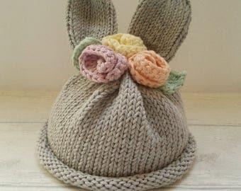 Baby Hat - Hand Knitted - Baby Bunny Hat - Bunny Ears Hat - Light Grey -  Rabbit Hat - Bunnies- Newborn - Photo Prop - 100% Cottton