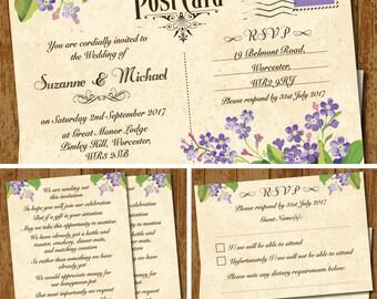 Vintage Postcard Lilac Forget-Me-Nots Wedding Invitation Set