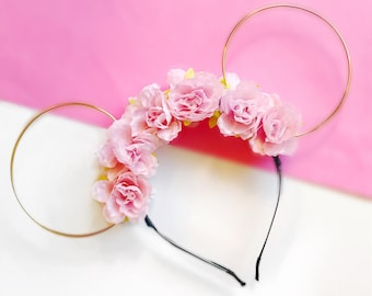Pink Flower Crown and Gold Wire Mouse Ears Headband