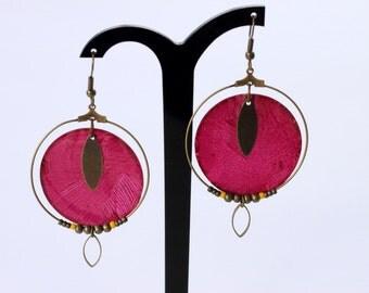 Earrings Pearly creoles dregs of wine