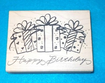 Denami Happy Birthday rubber stamp presents gifts bows occasions celebrations cardmaking craft stamps Scrapbooking birthdays wood mounted