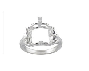 10x10mm - 14x14mm Square Regalle Pre- Notched Solid Sterling Silver Ring Setting Size 7