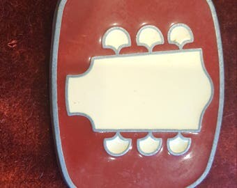 1980s Guitar Head Stock Belt Buckle Red Enamel