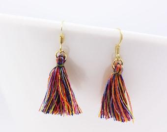 Bohemian Tassel Earrings, Small Tassel Earrings, Fringe Drop Earrings, Tribal Earrings, BOHO Earrings, Gold Dangling Earrings Hook