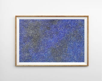 Large Abstract Blue Painting, Cosmic White Dots, Dotty Stars, Canvas Art on 24 x 36 Board, Australian Art