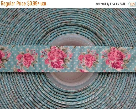 "SUPER SALE VINTAGE Pink Floral 7/8"" 22mm Grosgrain Hair Bow Craft Ribbon 782814"