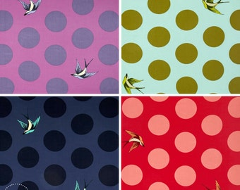 "Free Spirit Tula Pink Free Fall 108"" Wide Quilt Backing Fabric ~ Birds & Dots ~ Lipstick Orchid Sky Navy"