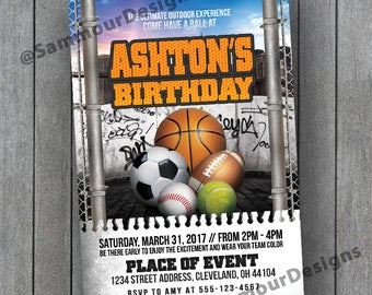Printable Sports Birthday Invitation - Sports Theme Birthday - Outdoor Sports Birthday - Sports Birthday Party -