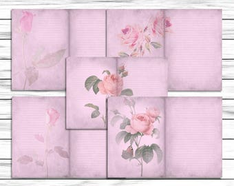 Pink Journal Page Set, Shabby Chic, Vintage Style Floral Paper Download, Scrapbook Background, Papercraft, Rose Stationary