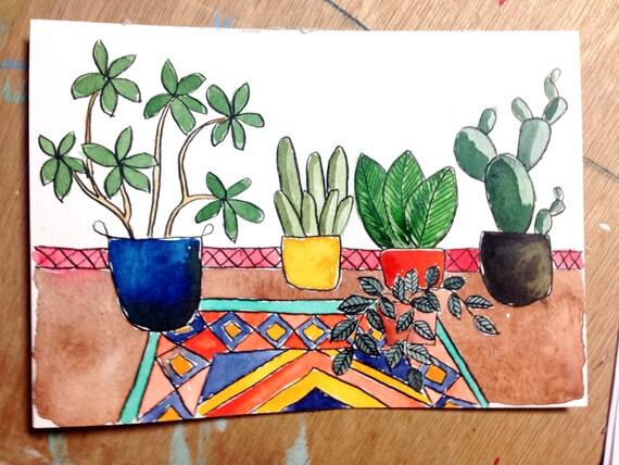 Origineel festival patroon aquarel schilderij van vetplanten - Decoratie interieur trap schilderij ...