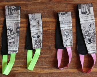 Mother/Daughter Matching Headbands - Dia De Los Muertos (pink or green band)