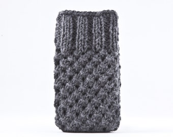 Gray Handknit iPhone Case, Knitted Samsung Galaxy Sleeve, iPhone 6S Case, Gifts for Women, Gray iPhone sleeve, Gray Mom Gift