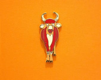 Cow / Ox Chinese Zodiac Pin with Rubber Clasp // Hard Enamel, Cloisonne, Accesories, Flair