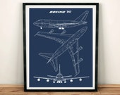 "747 Blueprint Art, Jumbo Jet, Blueprint Art, Instant Download, Boeing 747 Wall Art, Printable Art, Blue Print, Aviation Decor, 8x10"", 11x14"""