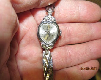 Vintage Ladies Wrist Watch From Eastman Silver tone Heart with Rhinestone Adornments - Tested Working Lovely Dainty Watch