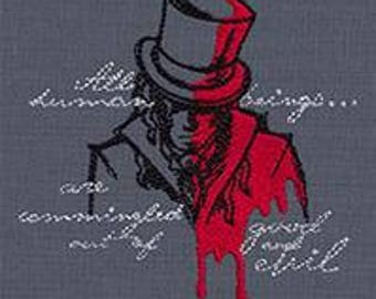 Embroidered Patch / applique - haunted tales Dr. Jekyll and Mr. Hyde - sew or glue on 4 x 4 inch ANY COLORS