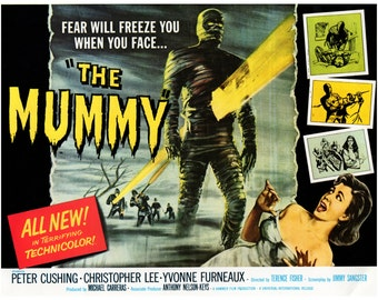 "Vintage Horror Science Fiction Movie Poster Print, 1959, The Mummy, PMSF 11"" x 14"""