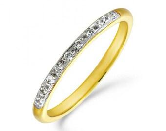 Diamond Wedding Band with a milgrain edge