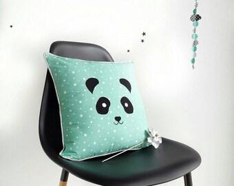 Coussin enfant Panda, coussin décoratif brodé Panda, Coussin carré, Coussin zippé en coton, coussin étoilé, Vert d'eau, Gris, Coton, bébé
