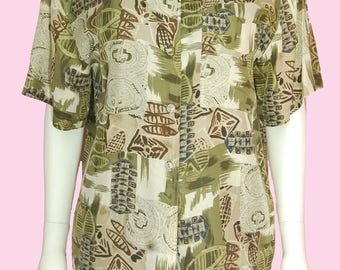 Hawaiian Shirt Vintage 90s Olive Green Khaki Tropical Print Silk Top